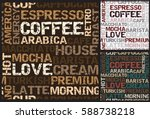 coffee pattern with words | Shutterstock .eps vector #588738218