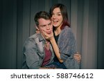 happy couple in love in a photo ... | Shutterstock . vector #588746612
