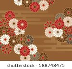 a japanese style floral pattern ... | Shutterstock .eps vector #588748475