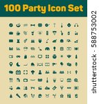 100 party icons set | Shutterstock .eps vector #588753002