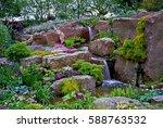 alpine garden with impressive... | Shutterstock . vector #588763532