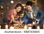 boyfriend and girlfriend trying ... | Shutterstock . vector #588765845