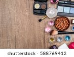 cosmetics set on wooden table... | Shutterstock . vector #588769412