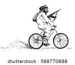 rebel with a kalashnikov gun... | Shutterstock .eps vector #588770888