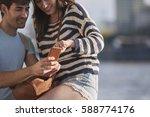 beautiful man woman couple... | Shutterstock . vector #588774176