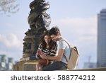 beautiful man woman couple... | Shutterstock . vector #588774212