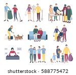 young volunteers set. flat... | Shutterstock .eps vector #588775472