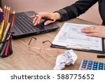 woman use calculator with... | Shutterstock . vector #588775652