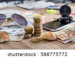 travel concept   euro bills ... | Shutterstock . vector #588775772