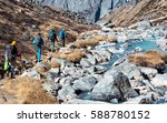 group of hikers men and woman... | Shutterstock . vector #588780152
