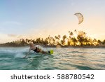 Kiteboarding. Fun In The Ocean...