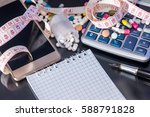 notepad  pills  measure tape... | Shutterstock . vector #588791828