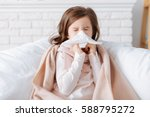 ill little girl recovering at... | Shutterstock . vector #588795272