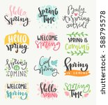 spring time lettering greeting... | Shutterstock .eps vector #588795578