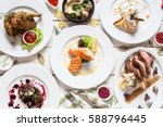 fish and meat meals variety... | Shutterstock . vector #588796445