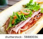 Sandwich with some nice cold cuts - stock photo