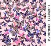 seamless background butterflies.... | Shutterstock .eps vector #588800546