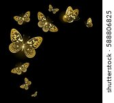 Stock vector stylized gold butterflies on a black background 588806825