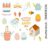 happy easter vector set. cute... | Shutterstock .eps vector #588808106