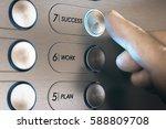 man pushing an elevator button... | Shutterstock . vector #588809708