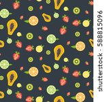 colorful tropical fruits and... | Shutterstock .eps vector #588815096