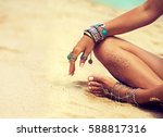 woman in relaxation on tropical ... | Shutterstock . vector #588817316