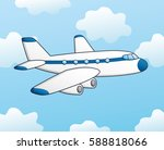white jet airplane on a sky... | Shutterstock .eps vector #588818066
