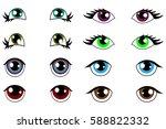 anime kawaii set of eyes with...