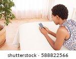 rear side portrait of african... | Shutterstock . vector #588822566