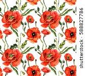 wildflower poppy flower pattern ...   Shutterstock . vector #588827786