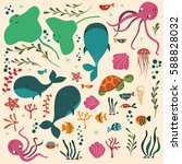 collection of colorful sea and... | Shutterstock .eps vector #588828032