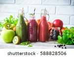 colorful smoothies   green ... | Shutterstock . vector #588828506