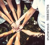 group of friends holding hands... | Shutterstock . vector #588830756