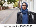 portrait of british muslim... | Shutterstock . vector #588835355