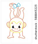 vector coloring book of cute... | Shutterstock .eps vector #588845225