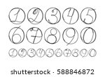 doodle numbers in circle set... | Shutterstock .eps vector #588846872