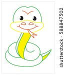 vector coloring book of cute... | Shutterstock .eps vector #588847502