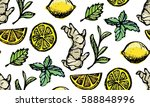 pattern with hand drawn tea... | Shutterstock .eps vector #588848996