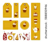 set of tags with hand drawn... | Shutterstock .eps vector #588850946