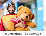 Crazy Super Hero With Teddy Bear