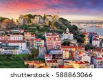 lisbon  portugal skyline with... | Shutterstock . vector #588863066