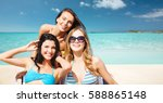 summer holidays  people ... | Shutterstock . vector #588865148