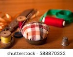 set of old sewing accessories... | Shutterstock . vector #588870332