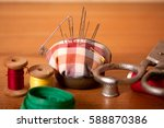 set of old sewing accessories... | Shutterstock . vector #588870386