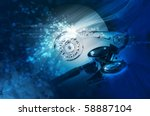 hard drive with an abstract... | Shutterstock . vector #58887104