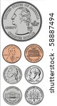 set of vector coins. all pieces ... | Shutterstock .eps vector #58887494