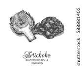 artichoke hand drawn...   Shutterstock .eps vector #588881402
