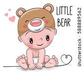 cute cartoon baby boy in a bear ...   Shutterstock .eps vector #588889562