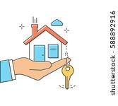 hand giving house keys. thin... | Shutterstock .eps vector #588892916