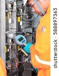 instrument technician on the...   Shutterstock . vector #588897365
